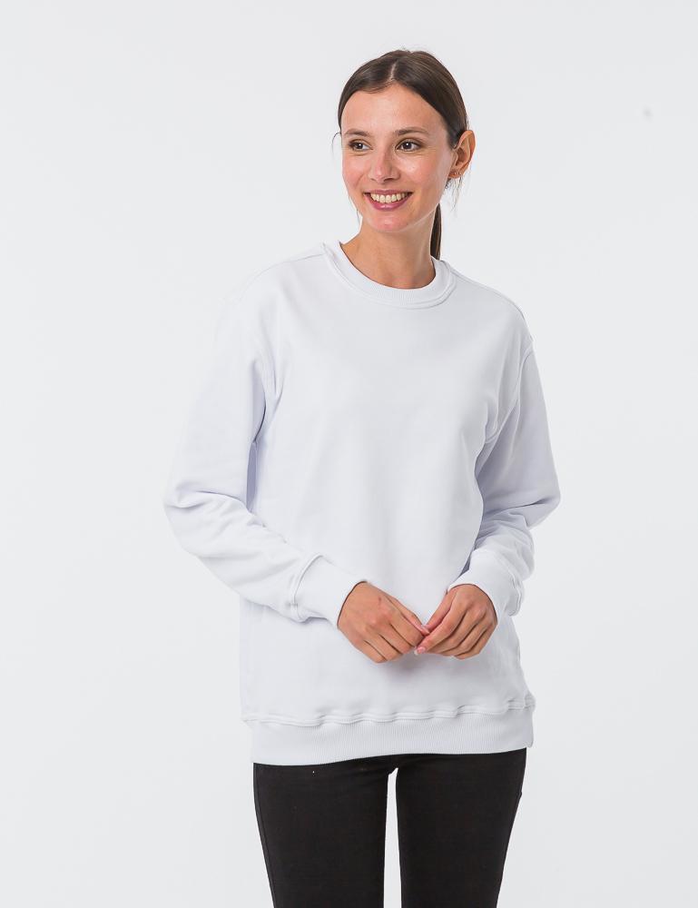6e6e3339657cb Белый женский свитшот - купить оптом в Москве, под нанесение логотипа